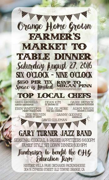 Don't Miss out on a Fantastic Night at the Farmer's Market to Table Dinner!