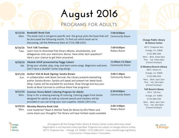 August Orange Public Library Events