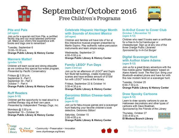 september/october family events